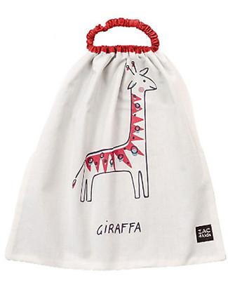 Zac 4 Kids Bavaglino con Elastico, Rosso con Giraffa - 100% Cotone (Perfetto per l'Asilo) Bavagli Con Elastico