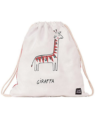 Zac 4 Kids Drawstring Bag Portrait Palio Collection, Red with Giraffe - Perfect for pre-schoolers! Small Backpacks