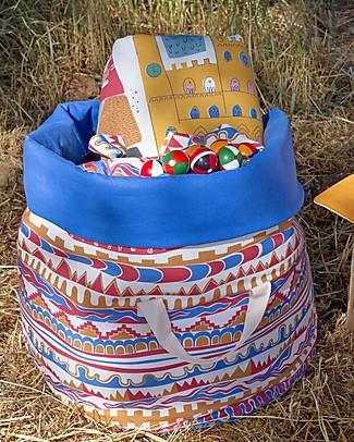 Zac 4 Kids Sacco Portagiochi Collezione Palio, Stripes con Interno Blu, Made in Italy - 100% Cotone Contenitori Porta Giochi