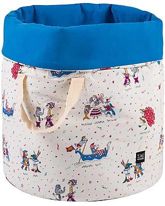 Zac 4 Kids Sacco Portagiochi Collezione Venezia, Cobalto/Maschera - Made in Italy - 100% Cotone Contenitori Porta Giochi