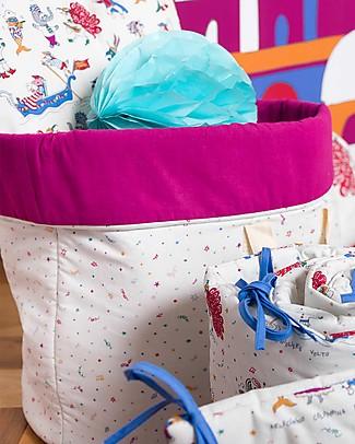 Zac 4 Kids Sacco Portagiochi Collezione Venezia - Magenta/Confetti - Made in Italy - 100% Cotone Contenitori Porta Giochi