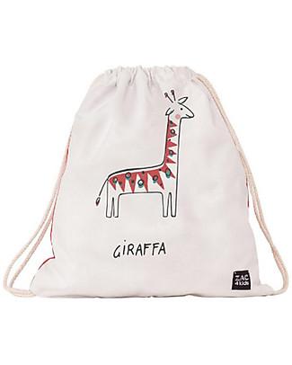 Zac 4 Kids Zainetto Morbido Portrait Collezione Palio, Rosso con Giraffa - Perfetto per l'Asilo! Zainetti