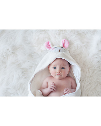 Zoocchini Asciugamano Baby con Cappuccio, Lola l'Agnellino - 100% cotone Accappatoi e Asciugamani