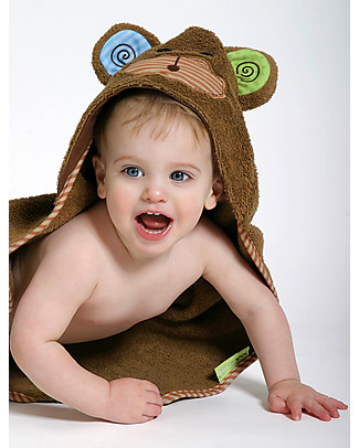 Zoocchini Asciugamano Baby con Cappuccio, Max la Scimmietta - 100% cotone Accappatoi e Asciugamani