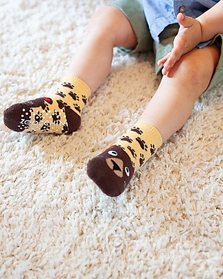 Zoocchini Grip+Easy Antislip Socks 3 Pack - Bosley the Bear Socks