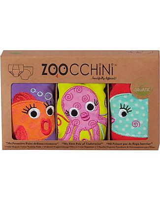 Zoocchini Mutandine Imbottite da Apprendimento Bimba, Amici dell'Oceano – Pacco da 3 – 100% cotone bio Mutandine da Apprendimento