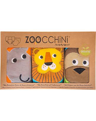 Zoocchini Mutandine Imbottite da Apprendimento Bimbo, Amici del Safari – Pacco da 3 – 100% cotone bio Mutandine da Apprendimento