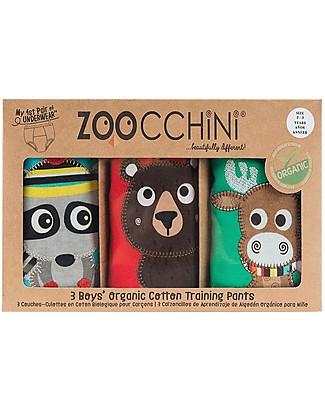 Zoocchini Mutandine Imbottite da Apprendimento Bimbo, Amici della Foresta - Pacco da 3 - 100% cotone bio Mutandine da Apprendimento