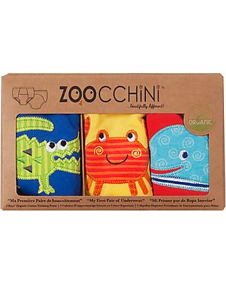 Zoocchini Mutandine Imbottite da Apprendimento Bimbo, Amici dell'Oceano - Pacco da 3 - 100% cotone bio Mutandine da Apprendimento
