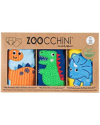 Zoocchini Mutandine Imbottite da Apprendimento Bimbo, Amici Dinosauri – Pacco da 3 – 100% cotone bio Mutandine da Apprendimento