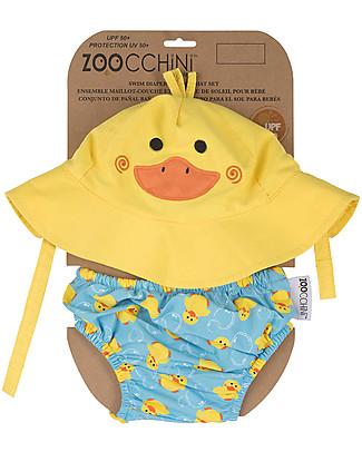 Zoocchini Set Baby Costumino Contenitivo + Cappellino, Anatroccolo – UPF 50+ Costumi Contenitivi