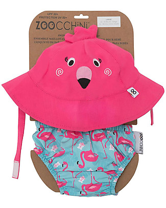 Zoocchini Set Baby Costumino Contenitivo + Cappellino, Fenicottero – UPF 50+ Costumi Contenitivi