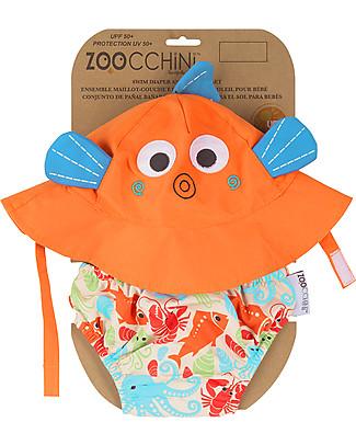 Zoocchini Set Baby Costumino Contenitivo + Cappellino, Pesciolino – UPF 50+ Costumi Contenitivi