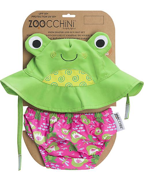 Zoocchini Set Baby Costumino Contenitivo + Cappellino, Rana - UPF 50+ Costumi Contenitivi