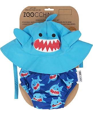 Zoocchini Set Baby Costumino Contenitivo + Cappellino, Squalo – UPF 50+ Costumi Contenitivi