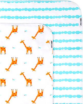 Zoocchini Set di 2 Copertine Baby 100 x 100 cm, Giraffa/Acqua – 100% cotone Coperte