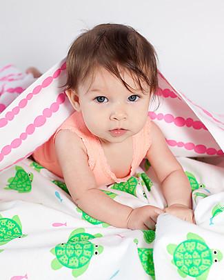 Zoocchini Set di 2 Copertine Baby in Morbida Flanella 100 x 100 cm, Tartaruga/Rosa – 100% cotone Coperte