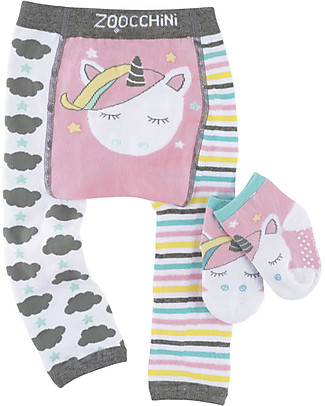 Zoocchini Set Leggings e Calzini Antiscivolo Grip+Easy - Allie l'Unicorno Leggings